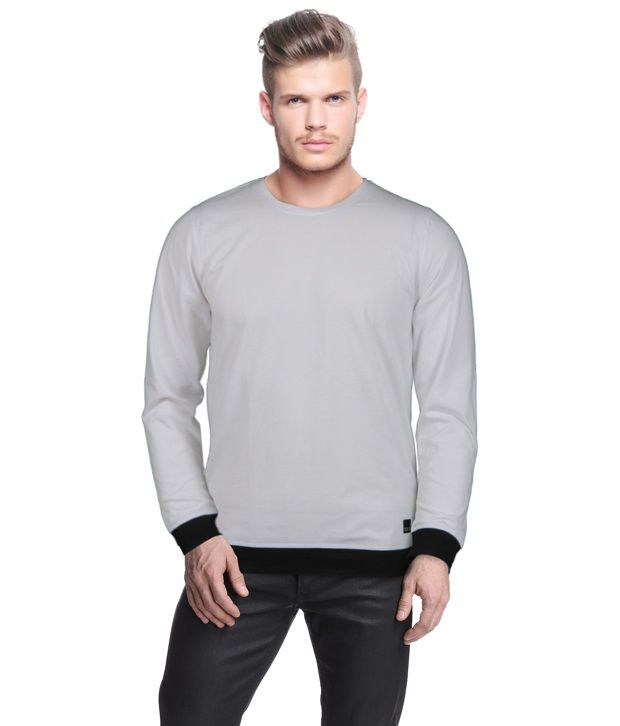 Rigo Stylish Grey T-Shirt With Black Cuffs