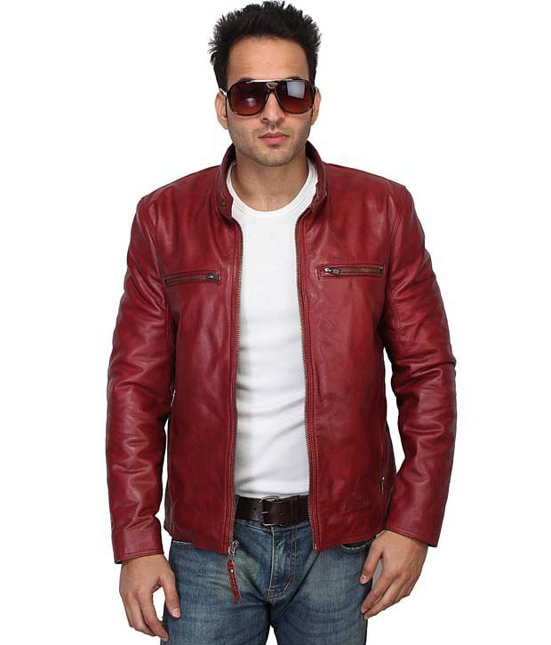Bareskin Red Leather Biker Jacket For Men - Buy Bareskin Red ...