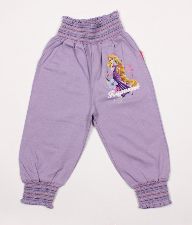 Disney Purple Cotton Capris For Kids
