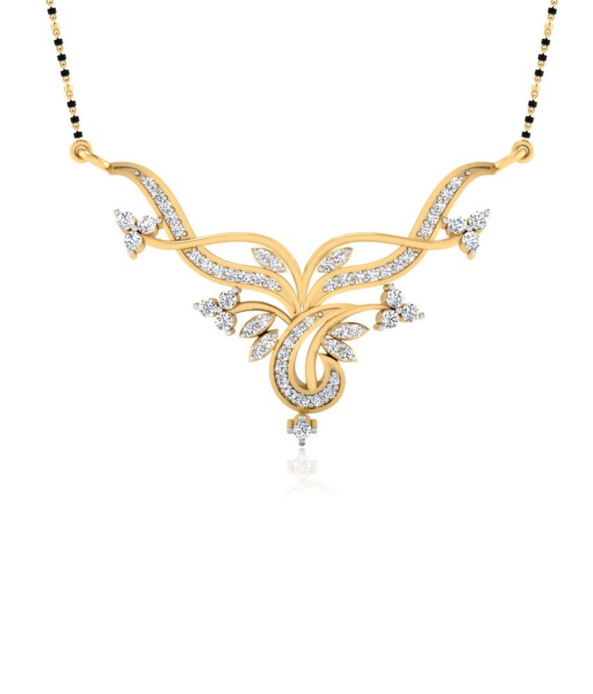 Forever Carat Real Diamond Royal Mangalsutra in 100% Certified 14kt Gold