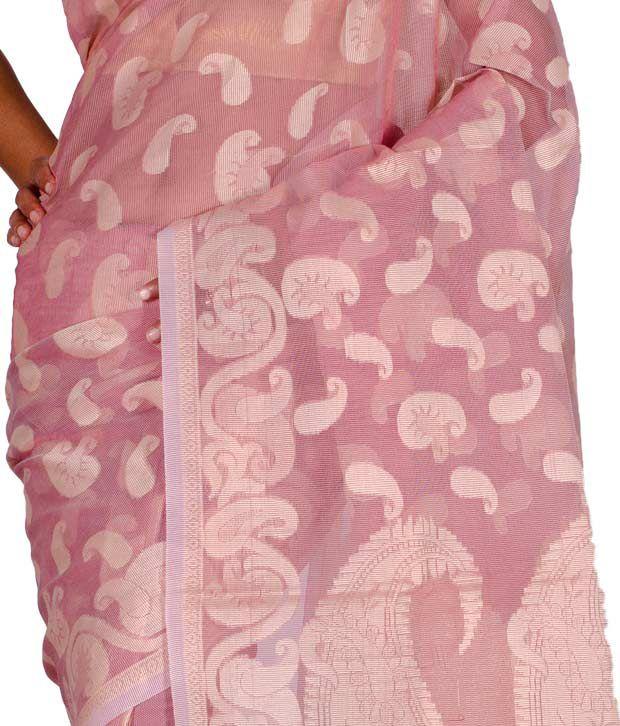 Chandrakala Light Pink and Beige Colour Cotton Silk Pure