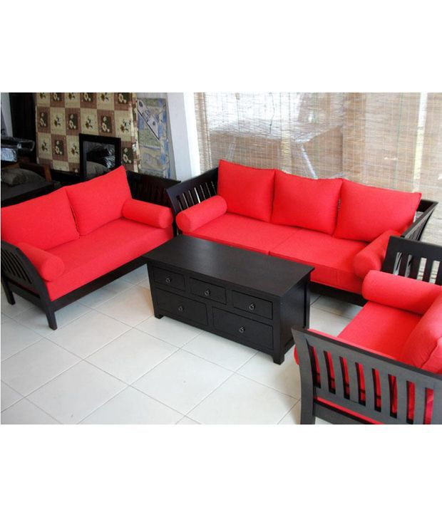 furny wooden sofa set extra spacious 3 plus 2 plus 1 maroon fabric rh snapdeal com