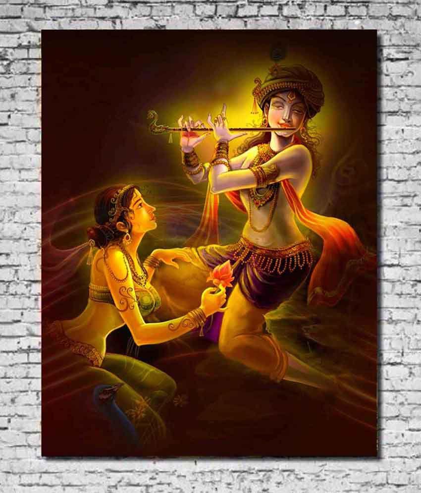 MeSleep Canvas Flute Radha Krishna Painting Without Frame ...