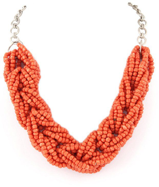 Voylla Stylish Orange Knotted Bead Necklace