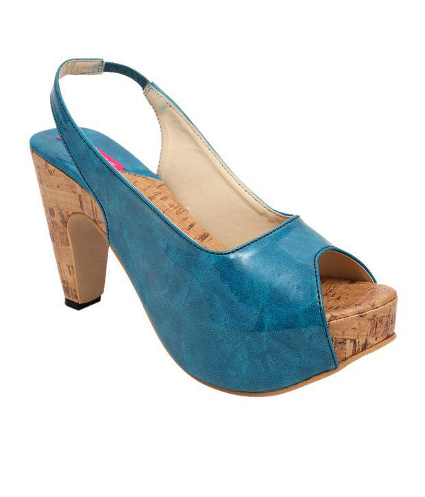 Butterfly Trendy Turquoise Blue Heel Sandals