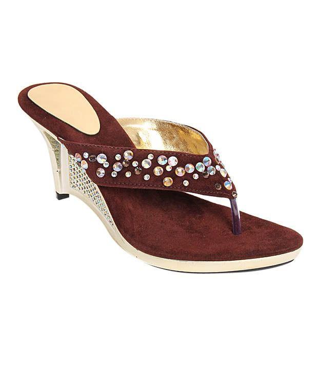 Buttrefly Studded Brown Slip-on Heels