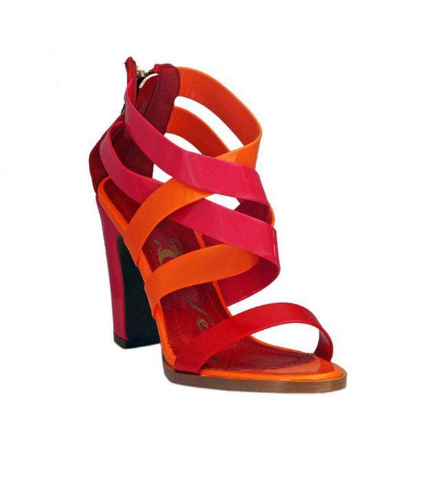 Catwalk Red & Orange Block Heel Sandals