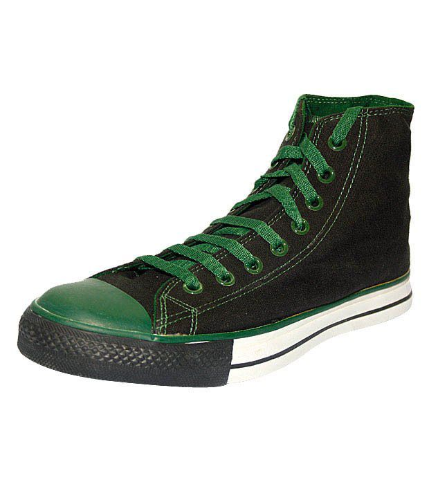 Converse Black & Bottle Green High Ankle Sneakers