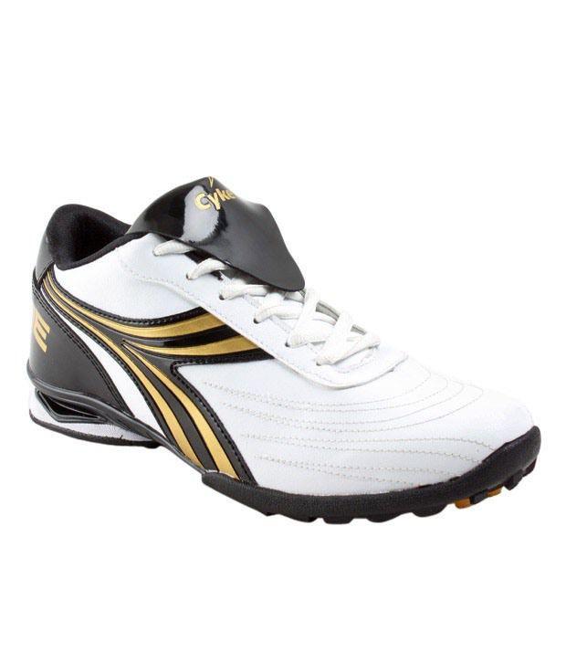 Cyke Vigorous White & Golden Sport Shoes