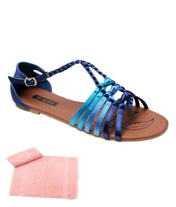 Di-Moda Serene Deep Blue Slippers With Free Towel