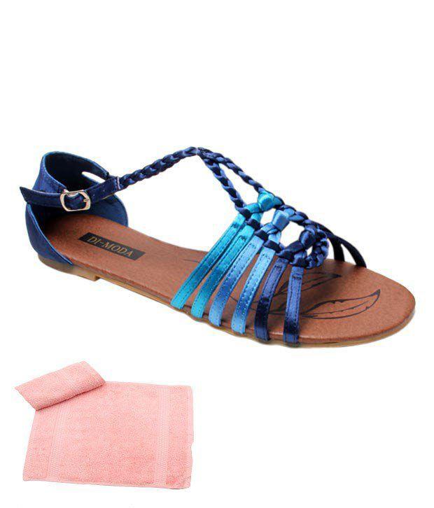 Di-Moda Serene Deep Blue Slippers With Free Towel