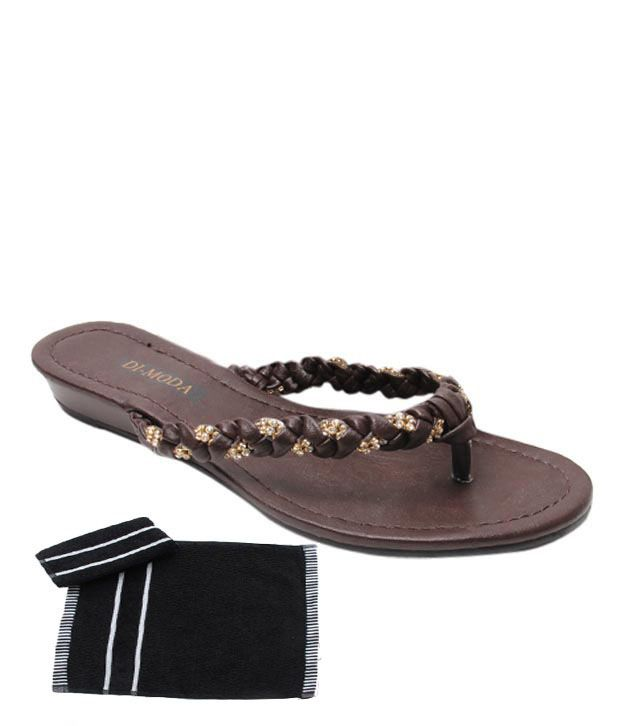 Di-Moda Superb Brown Heel Slippers With Free Towel