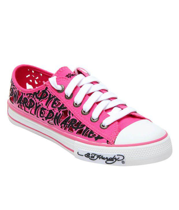 Ed Hardy Fushia Cut Out Canvas Shoes