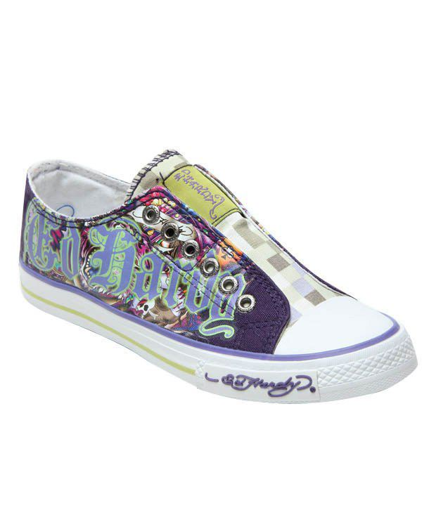 Ed Hardy Purple Tiger Tattoo Canvas Shoes