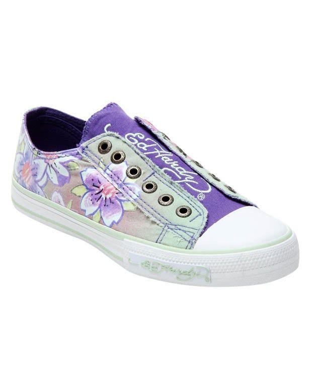 Ed Hardy Teal Flower Sneakers