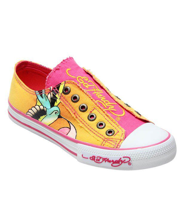 Ed Hardy Yellow Bird Tattoo Canvas Shoes