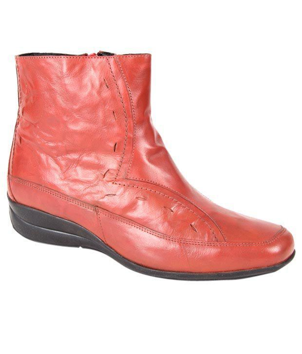 Euro Star Striking Red High Ankle Length Boots