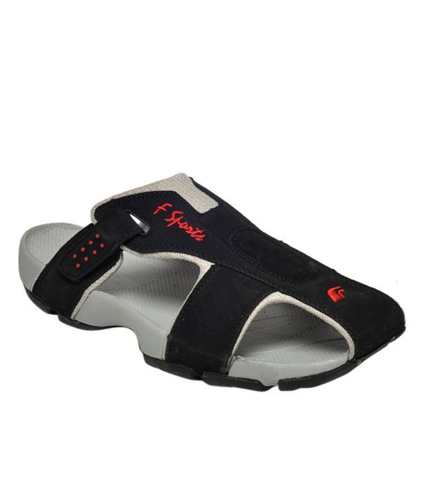 F Sports Black & Gray Floater Sandals