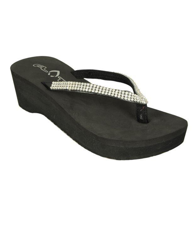Flots Black Stones Platform Slippers