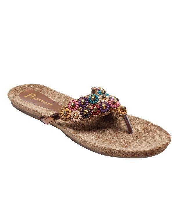 Flower Golden & Copper Slip-on Slippers