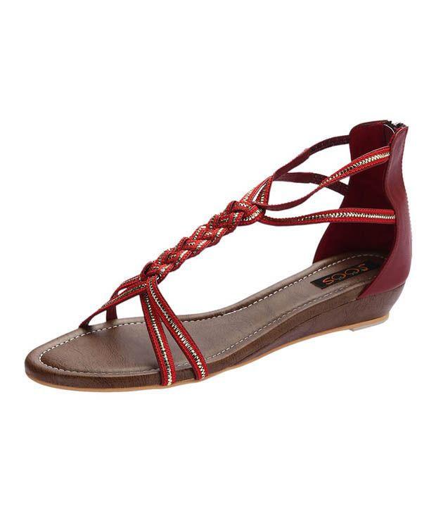 Joos Shiny Red Wedge Heel Sandals