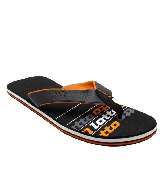Lotto Black & Orange Juve Flip Flops