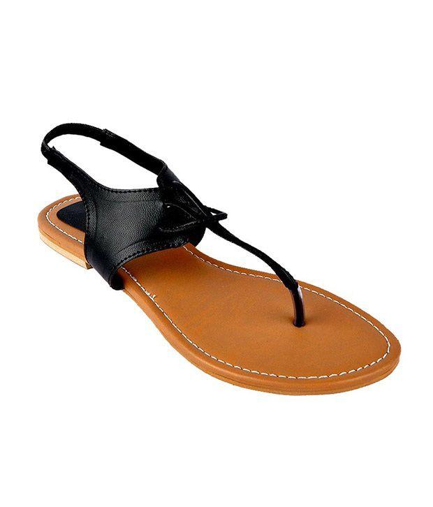 Martini Black Flat Sandals