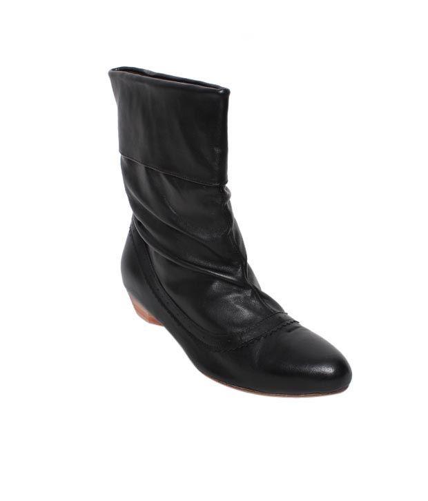 Massimo Italiano Shiny Black Mid Calf Boots