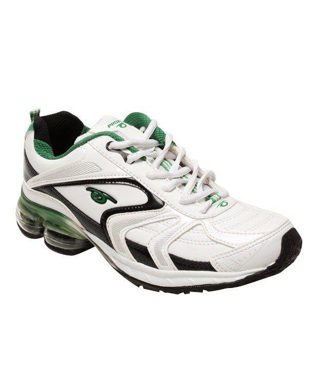 Prozone Smart White & Green Sports Shoes
