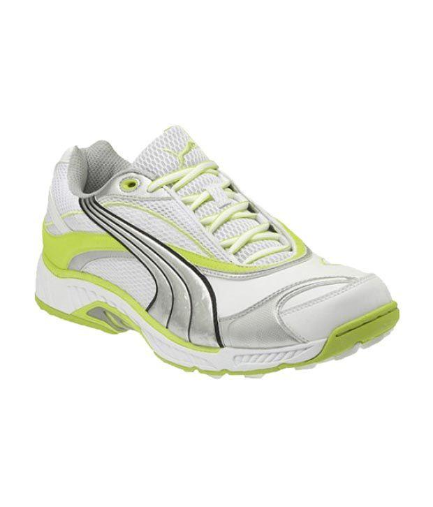 Puma CALIBRE Rubber White-Lime-Punch Cricket Shoes