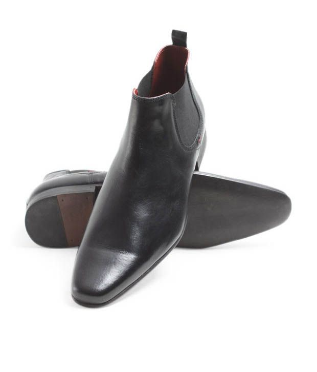 Red Tape Black Leather Ankle Boots