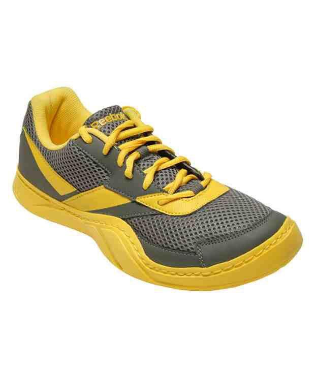 Reebok Field Effect Grey & Yellow Sports Shoes