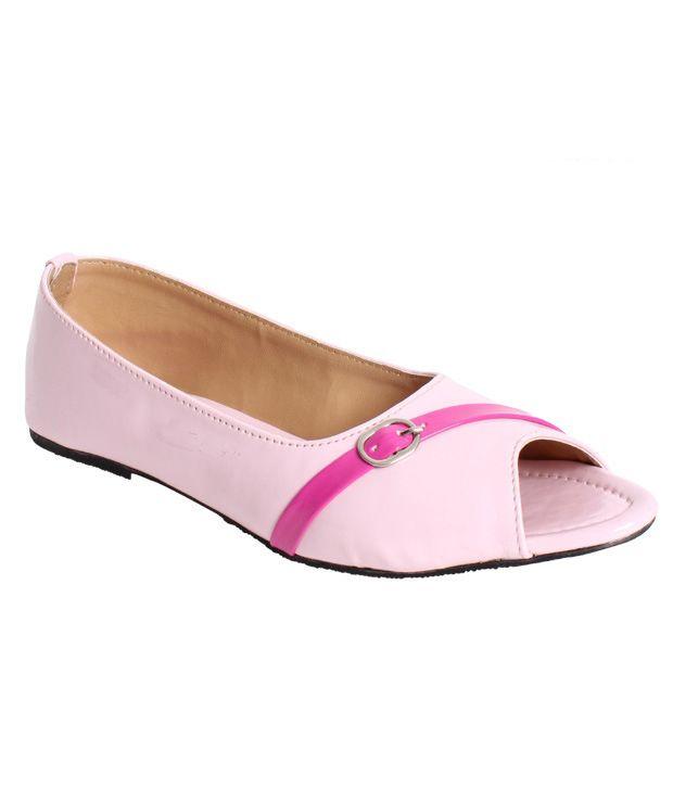 Stylewalk Pink-White Classy Peep Toe Ballerinas
