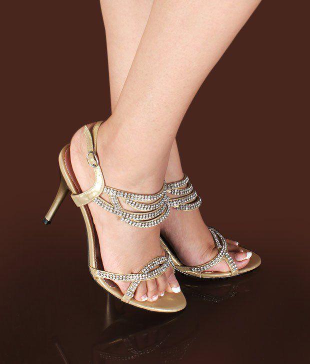 Ameise Scintillating Golden Stiletto Sandals