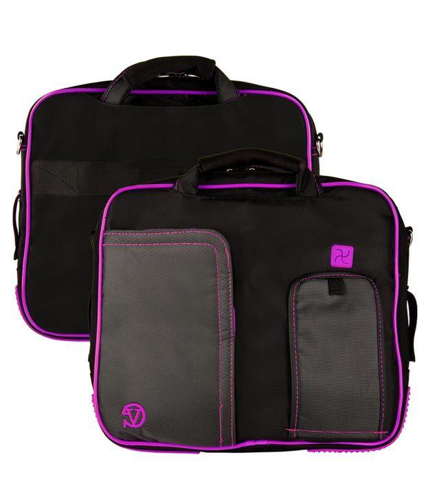 Black and Purple VanGoody Pindar Laptop Case - Medium 12-13Inch