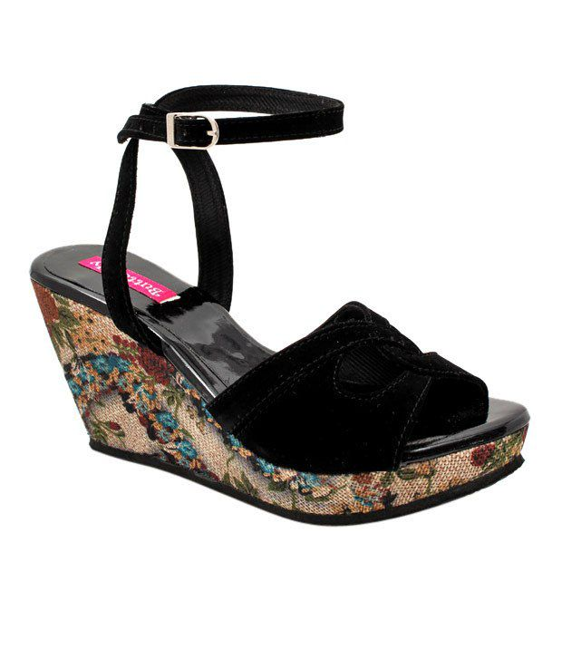 Butterfly Black Wedge Heel Sandals