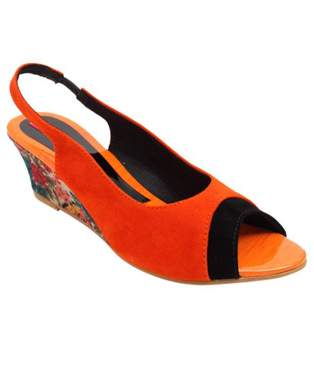 Butterfly Orange & Black Wedge Heel Sandals