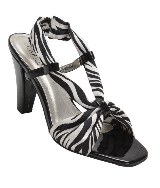 Carlton London Black & White Slip-on Sandals