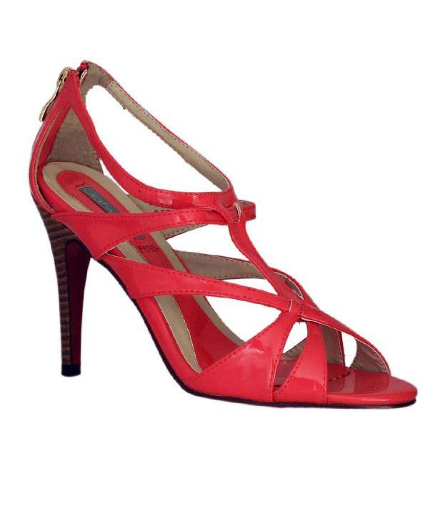 Catwalk Coral Red Pencil Heel Sandals