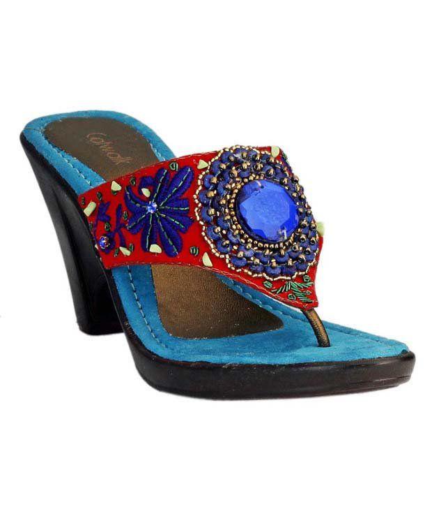 Catwalk Dark Blue Slip-on Wedge Heels