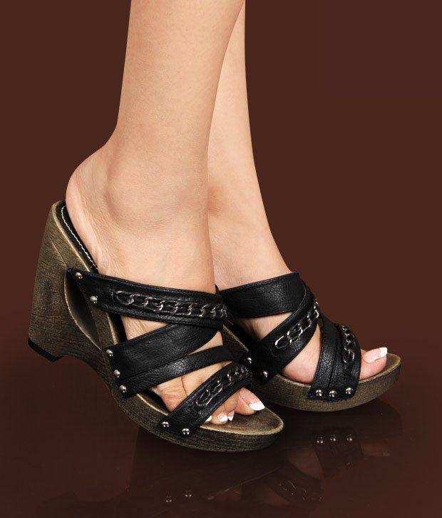 Catwalk Striking Black Slip-on Heels