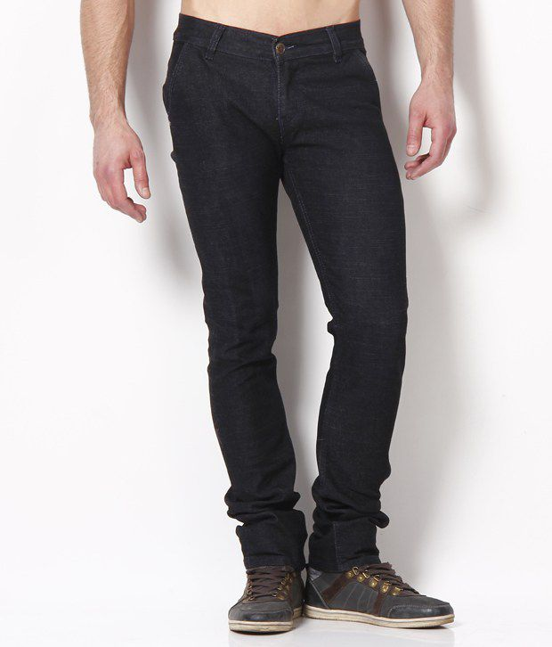 Coral Black Cotton Jeans