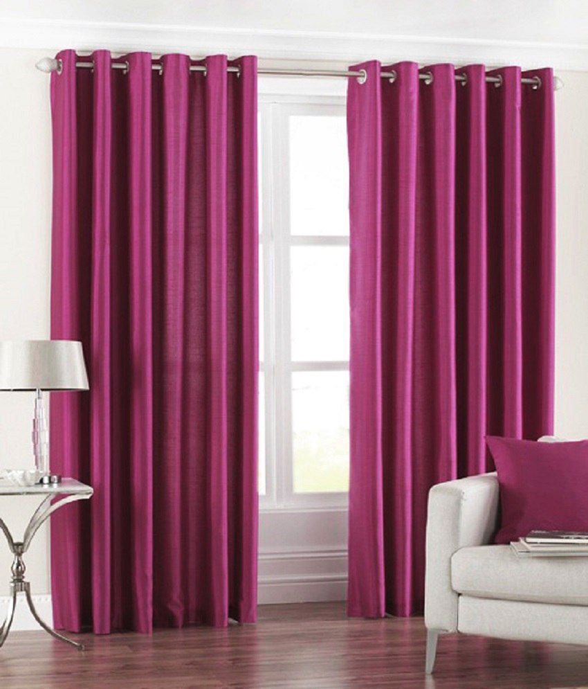 Homefab India Set of 2 Royal Silky Wine Curtain Solid