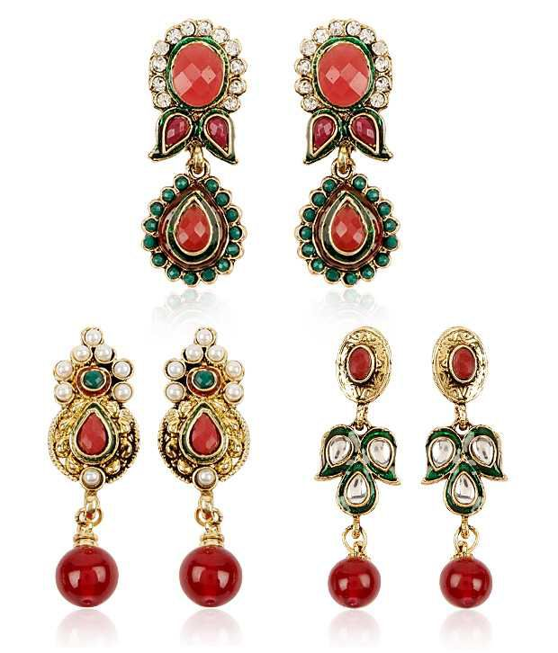 Shinning Diva Traditional Combo of Three Pairs of Earrings