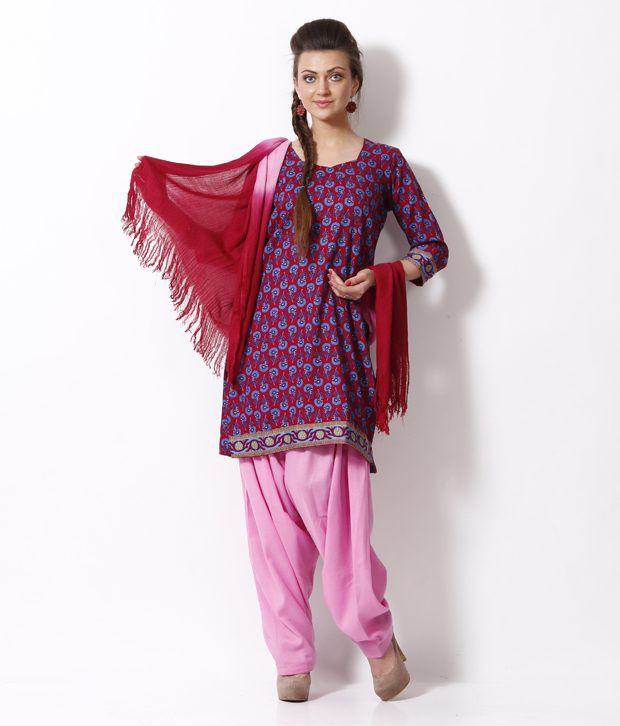 Fab Fashion Maroon Printed Stitched Salwar Suit With Dupatta
