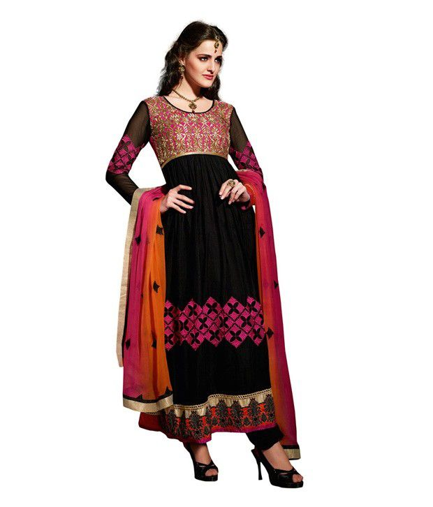 Fabdeal Party Wear Black Color Super Net Embroidered Semi-Stitched Salwar Suit