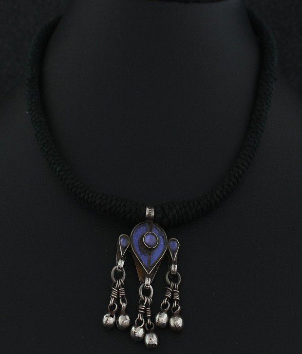 7461459b6f 925 Silver Blue Black Thread Pendant Necklace Ethnic Jewellery: Buy 925  Silver Blue Black Thread Pendant Necklace Ethnic Jewellery Online in India  on ...