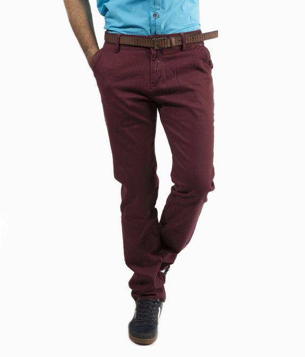 Gesture Maroon Casual Trouser