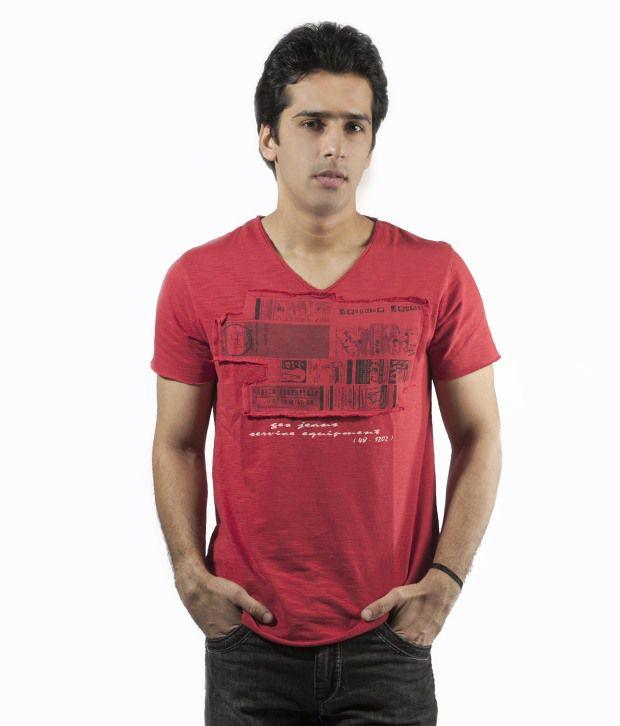 Gesture Red V-Neck T Shirt