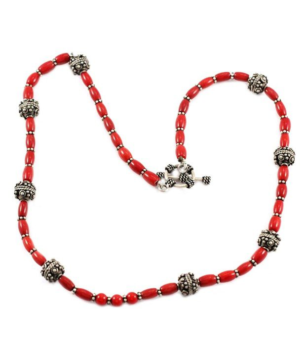 925 Silver Hand Crafted Silver Beads Coral Gemstones Fashion Necklace